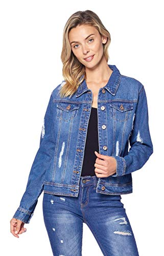 Blue Age Women's Distressed Jean Jacket Medium Denim (JK4002_MD_S)