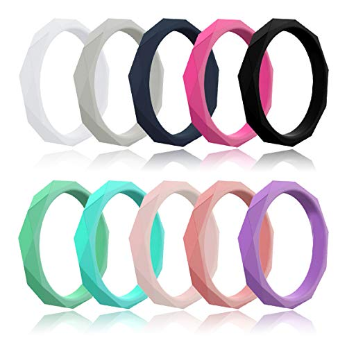 LUNIQI Silicone Wedding Ring, 2019 New Version Rhombus Shape Rubber Band, Medical Grade Silicone Band for Love, Couple, Souvenir and Outdoor Active Exercise Style