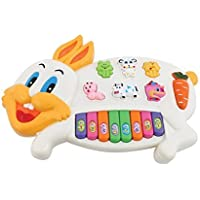 Flabo Rabbit Musical Piano with 3 Modes Animal Sounds, Flashing Lights & Wonderful Music (Multi Color)