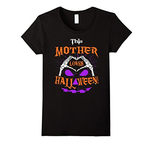 Womens This Mother Loves Halloween Skeleton Hand Heart T-Shirt Medium Black