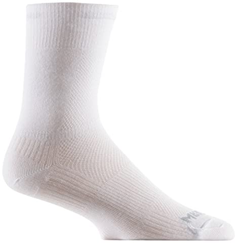 WrightSock Mens Coolmesh II Crew, White, Sock Size:10-13/Shoe Size: 6-12 - Anti Blister Double Layer Cool