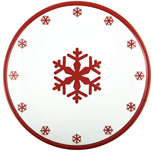 10.5 Melamine Plate (Melange 608410091719 6-Piece 100% Melamine Salad Plates Christmas Collection-Red Xmas Shatter-Proof and Chip-Resistant|, 10.5