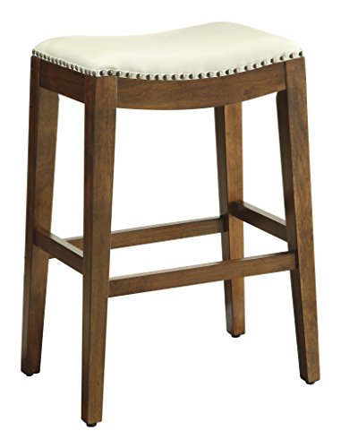 Office Star Metro Bonded Leather Bar-Height Saddle Stool with Nail Head Accents and Espresso Finished Legs, 29-Inch Cream - Saddle Style Bar Stool