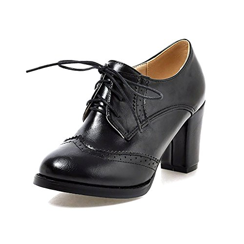 Odema Womens PU Leather Oxfords Brogue Wingtip Lace up Dress Shoes Chunky High Heels Pumps (Oxford Lace Up Pump Shoes)