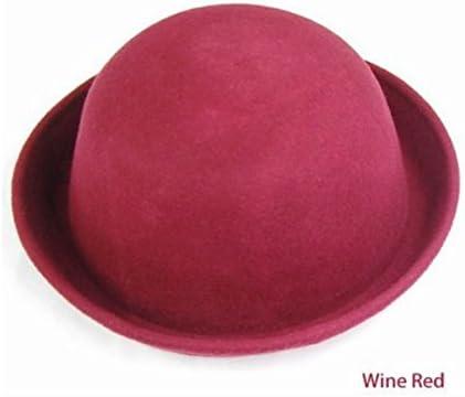 Red Wine WAWO Women Fashion Vogue Vintage Cute Trendy Bowler Wool Derby Hat