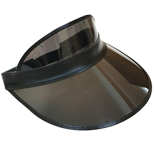 Golf Leather Visor - F&J Retro Adjustable Stag Poker Party Visor Hat Headband Cap Neon Sun Golf Rare Color (Black)