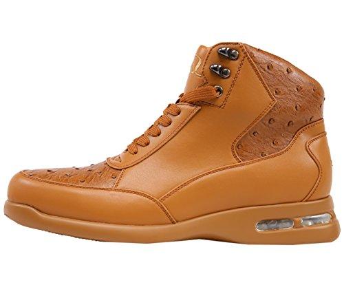 Sio Hombres Exóticos Avestruz Quill Impreso Casual Lace Up Athletic Sneaker Bota Inspirado, Estilo Troy Tan