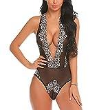 QIGUANDZ Lingerie for Women One Piece Nightie Lace Babydoll Pajamas Teddy Underwear Bodysuit Black