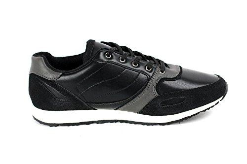 Hombres Con Cordones Zapatillas De Piel Informal Footing Zapatos Para Andar Diseñador Gym Nuevo Talla Negro