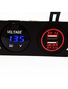 Wi&Lit voltímetro digital y el cargador del coche del usb dual, nuevos productos, con la función impermeable. , orange