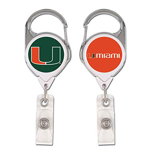 - WinCraft NCAA Miami Hurricanes Retractable Premium Badge Holder, Team Color, One Size