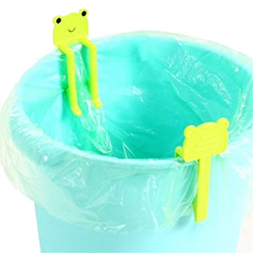 SONG LIN 2 pcs Green Cute Cartoon Animal Creative Garbage Bag Clip Holder Trash Bin Clips