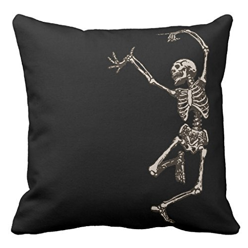 Dancing Skeleton Sofa Pillow Cover Decorative Couch Cushion Cover for Living Room Canvas Slipcover 18 x 18