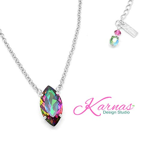 CRYSTAL ELECTRA 32x17mm Navette Pendant Necklace Made With Swarovski Crystal *Choose Your Finish *Karnas Design Studio