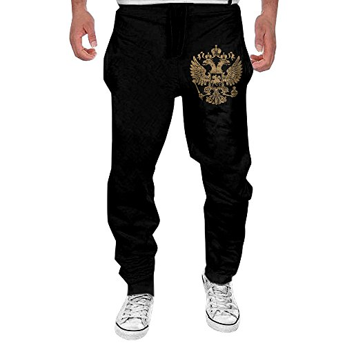 Mens Coat Arms Russian Federation Men's Casual Sweatpants Pants (Black Russian Pants)