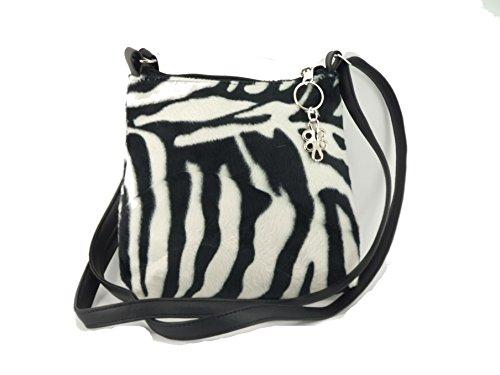 Bag Shoulder Body Cross Faux Zebra LONI Leopard Fur Trendy Animal Print anqX8wRX