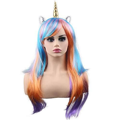 kaste Women Princess Rainbow Unicorn Wig Long Curly Hair Wigs Halloween Party Cosplay Wig Fit Women