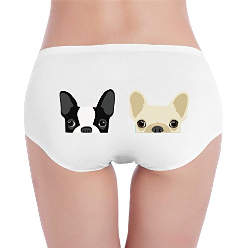 PRETY Boston Terrier And French Bulldog Friends Sexy Fashion Underwear White Small For Women And Girls