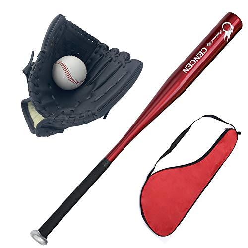 Agirlgle Baseball Bats for Kids, Teens Baseball Set with Ball Youth Baseball Toy, 25in Aluminum Alloy Bat, 10.5in Glovev (red bat)