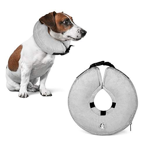 Fancar Protective Inflatable Cone Collar for Dogs and Cats - Adjustable Soft Pet Recovery E-Collar, Not Block Vision E-Collar (Grey, S) ()
