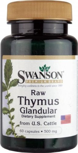 Swanson Raw Thymus Glandular from US Cattle (500mg, 60 Capsules) by Swanson