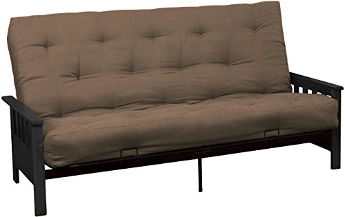Epic Furnishings Berkeley 10-inch Loft Inner Spring Futon Sofa Sleeper Bed, Full-size, Black Arm Finish, Microfiber Suede Mocha Brown Upholstery