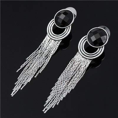 Austrian Crystal Long Chains Tassels Studs Earring Female Antique Silver Color Zinc Alloy Hanging Earrings for Women Mdjb080 (1) ()