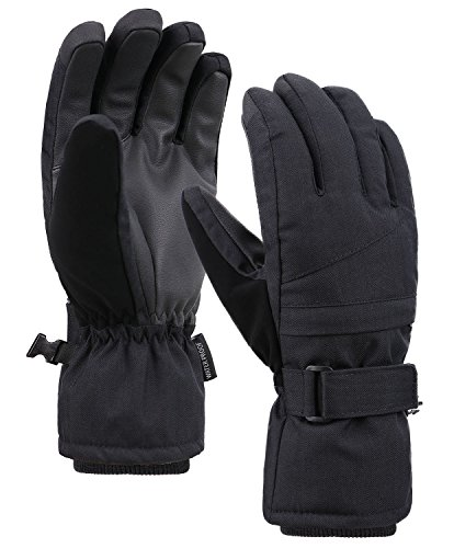 Jasmine Women Thinsulate Lined Winter Weather Ski Snowboard Gloves,Black,L ()