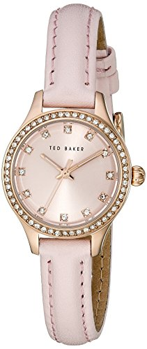 Ted Baker Women's 10023510 Glam Rose Gold-Tone Watch with Pink Leather Band