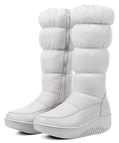 Faux Womens Booties Down White Calf Wedge Snow Mid Up Heels Lined Fur Comfy IDIFU Zip Boots Platform Mid 8waSSTqd