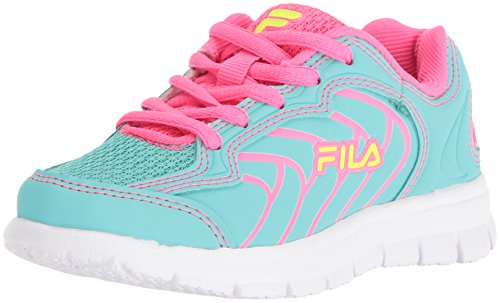 Fila Girls' Star Runner Skate Shoe, Aruba Blue/Knockout Pink/Safety Yellow, 12 M US Little Kid