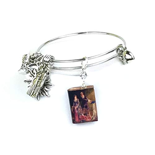 Taming of the Shrew William Shakespeare Clay Mini Book Expandable Stainless Steel Bangle Bracelet
