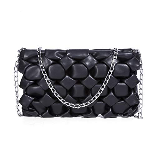 Ladies Fashion Evening Bag PU Leather Zip Quilted Crossbody Bag Black Mini Shoulder Bag Designer Handbags and Purse for Women with Detachable Metal Chain Strap