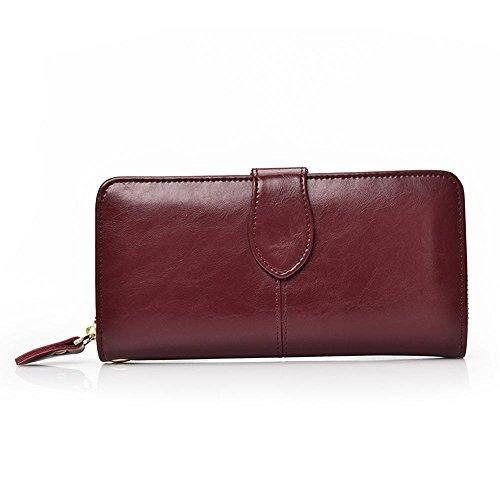 Aoligei Hommes de carte multi-sac main cuir grand portefeuille tenant sac business loisirs tête en cuir B