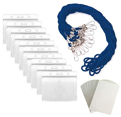 Lanyard With ID Badge Holder Name Tags Card Labels Lanyards String Keys Custom Necklace J Hooks Clip BLUE HORIZONTAL 55 Sets Plastic Sleeve Cover Clear Waterproof Nametags Protectors Nurse School Kids ()