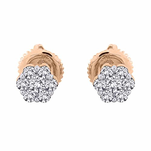 Diamond Floral Stud (Diamond Floral Stud Earrings in 10K Rose Gold (1/2 cttw) (JK-Color, I1/I2 Clarity))