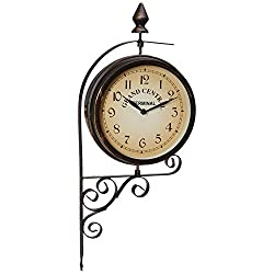 Ashton Sutton H1109-20F Double Sided Bracket Clock and Thermometer