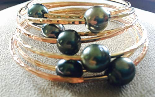 14K Yellow Gold Filled Tahitian Pearl Bangles 10MM Peacock Pearls Gift for Her (Tahitian Yellow Bracelet)