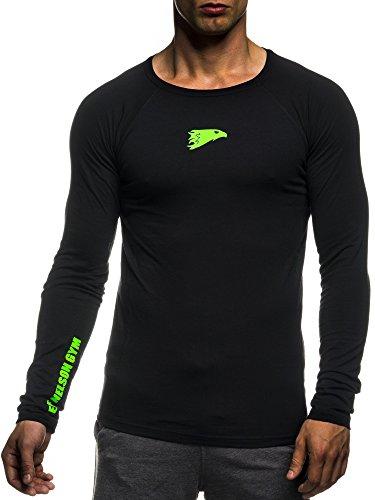 LEIF NELSON GYM Herren Fitness Sweatshirt T-Shirt Rundhals Langarm Trainingsshirt Training LN06283; Grš§e L, Schwarz-Gruen