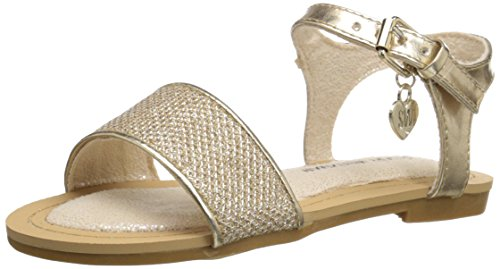 Stuart Weitzman Camia Ava Low Strap Sandal (Toddler/Little Kid/Big Kid), Gold/Metallic, 2 M US Little (Gold Metallic Kid Footwear)