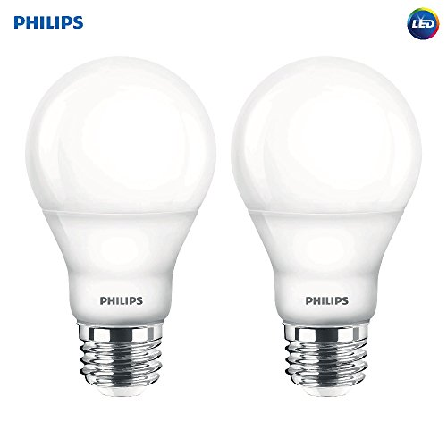 Philips LED Dimmable A19 Soft White Light Bulb with Warm Glow Effect: 800-Lumen, 2700-2200-Kelvin, 6.5-Watt (60-Watt Equivalent), E26 Base, Frosted, 2-Pack (Old Generation)