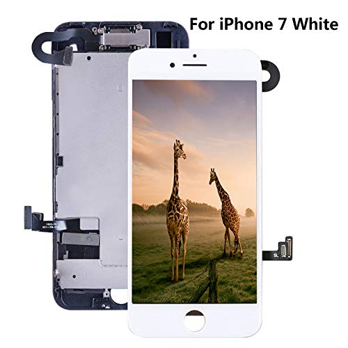 for iPhone 7 Screen Replacement 4.7 LCD White - with [ Proximity Sensor] [ Ear Speaker] [ Front Camera] [ Repair Tools] [ 3D Touch] Display Touch Digitizer Frame Full Assembly Repair Kit