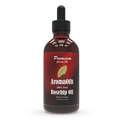 AromaOils Rosehip Oil 100 Percent Pure, Best for Skin & Facial Care, Reduces Wrinkles & Fine Lines, Anti-Aging, 4 oz