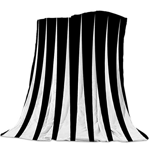 Womenfoucus Flannel Fleece Throw Blanket Ultra Soft Warm Fuzzy Plush Lightweight Microfiber All Season Bed/Couch Blankets - King Size 60 x 80 Inch, Black and White Triangle Geometry