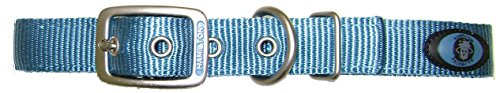 Hamilton Double Thick Nylon Deluxe Dog Collar with Brushed Hardware Finish, 1-Inch by 20-Inch, Ocean Blue