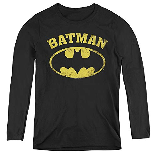Batman Over Symbol Adult Long Sleeve T-Shirt for Women, X-Large Black -