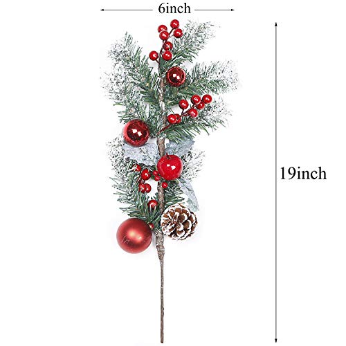 TINGOR-2-Pack-Red-Berry-Stems-Artificial-Pine-Picks-for-Christmas-Tree-Decorations-Christmas-Flower-Arrangements-Wreaths-Garlandsand-Holiday-Decor-19-Inches