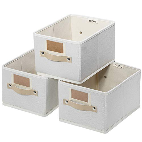 """OLLVIA Foldable Storage Bins Set of 3, Rectangle Baskets for Organizing, Storage Basket with Labels, Decorative Organizer Bins for Shelves, Fabric Closet Storage Bins Box for Home
