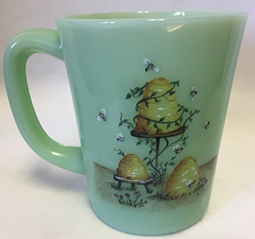 (Glass Coffee Mug - Rosso Exclusive - Mosser USA - American Made (Bees / Hives, Jade))
