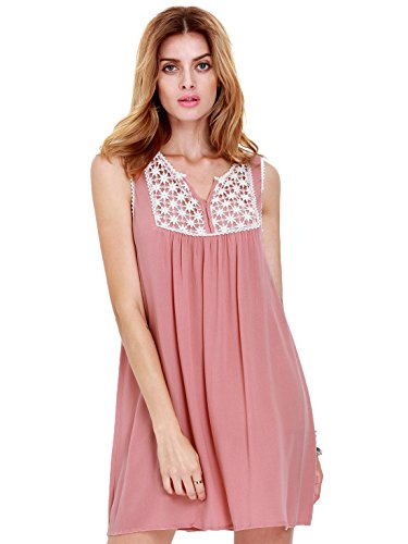 ROMWE Women's Cute Plain House Sleeveless Pleated Embroidered Dress Pink S